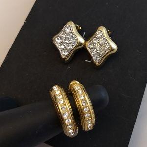 Two pairs Vintage Rhinestone Earrings